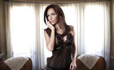 brunette woman in room