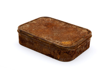 Rusty aged rectangular tin over white