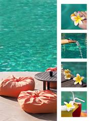 Collage piscine et frangipanier