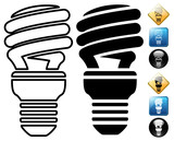 Spiral low energy bulb pictogram and signs