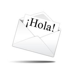 Icono sobre blanco con carta con texto ¡Hola!