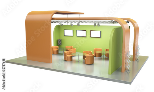 Empty exhibition stand. 3D render.