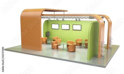 Leinwandbild Motiv Empty exhibition stand. 3D render.