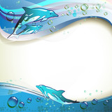 Background with dolphins and drops of water