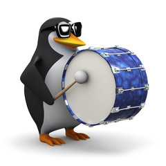 3d Penguin bangs the drum