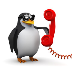 3d Penguin answers the red phone