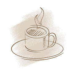 coffee icon, freehand drawing (vector)
