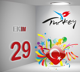 National Holiday 3D Calendar Turkey