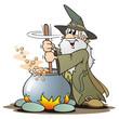 Leinwandbild Motiv Green Wizzard with Cauldron