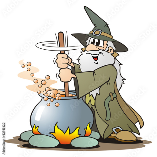 Green Wizzard with Cauldron