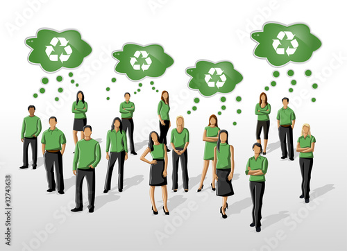 Eco illustration of a group of people in green clothes