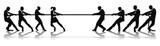 Women versus men business tug of war competition poster