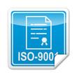 Pegatina cuadrada ISO-9001 con reborde