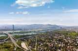 Fototapety Panorama of Vienna with Danube River the Donauinsel