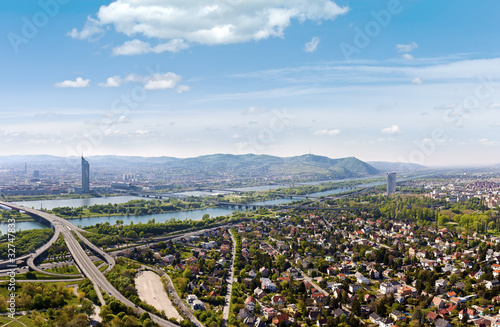Panorama of Vienna with Danube River the Donauinsel