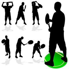 tennis player in various poses black silhouette