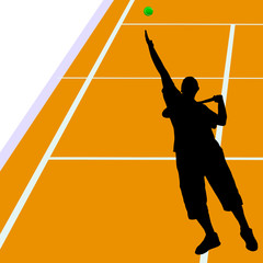 tennis service in the field vector illustration