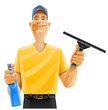 man cleaning window squeegee
