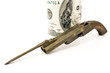 Old gun with bayonet and hundred dollar bill