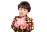 Surprise baby girl with a moneybox poster