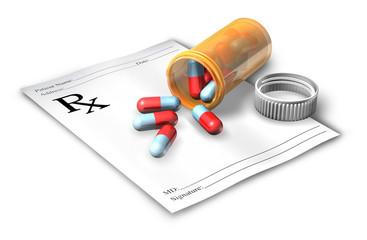 Prescription note with pill bottle