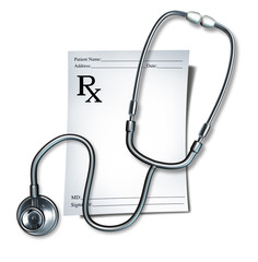 Medical prescription with stethoscope