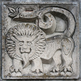 bas-relief of fairytale lion poster