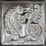 bas-relief of fairytale wolf poster