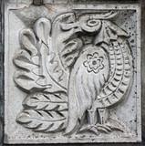 bas-relief of fairytale bird poster