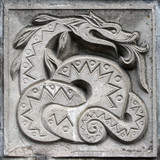 bas-relief of fairytale snake poster