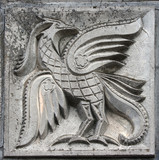 bas-relief of fairytale firebird poster