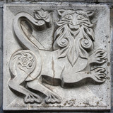 old bas-relief of fairytale animal poster