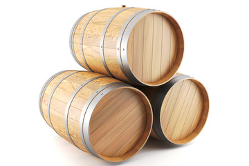 group of wine barrels