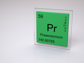 Praseodymium - symbol Pr - element of the periodic table