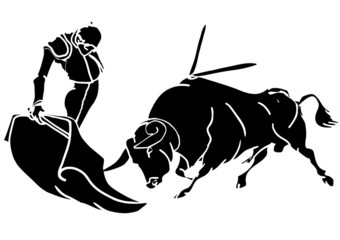 Toro con torero en faena