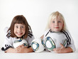 Two little girls as football fans watching Woman´s World Cup