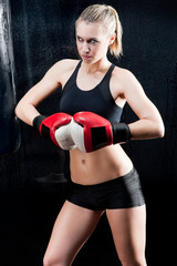 Sexy boxing training woman with gloves gym