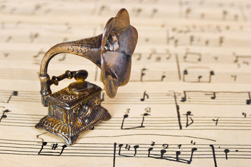 Gramophone on old sheet music