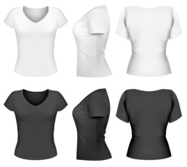 Vector woman t-shirt design template (front, back, side design)