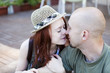 Happy Portrait of Young kissing couple