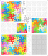 Jigsaw puzzle templates with whimsically shaped pieces