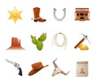 Set of 12 icons from the American Old West