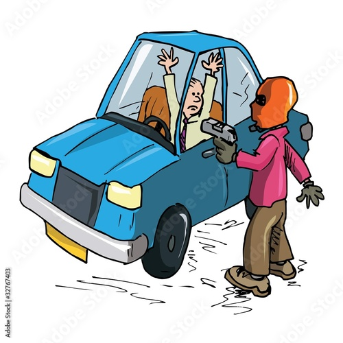 Cartoon Driver being held up