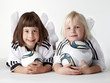 Two little girls as football fans like the  Woman´s World Cup