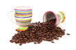 Coffee cups and roasted beans