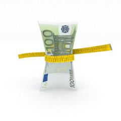 100 euro money in measuring tape
