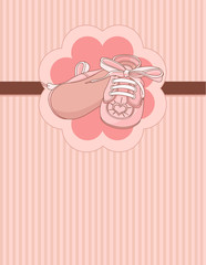 Pink baby shoes place card