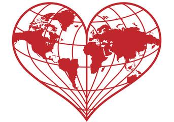 heart shaped earth globe, vector