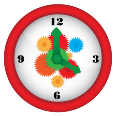 Clock with gears - colorful illustration