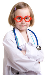 Little doctor with a white background.